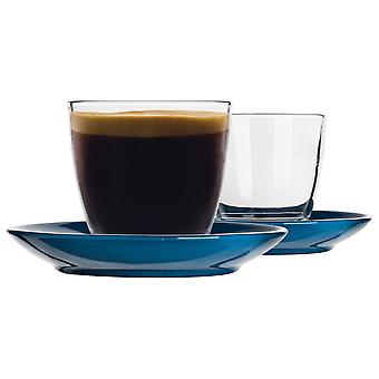 Duralex 12 Piece Gigogne Glass Coffee Cup and Ceramic Saucer Set - Modern Style Tumbler Mug for Latte Cappuccino - Blue - 220ml