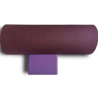 Ganvol TPE Yoga Mat Purple 183 x 61 x 0.6 CM + Yoga Block 23x 15x 7.5 cm, Purple