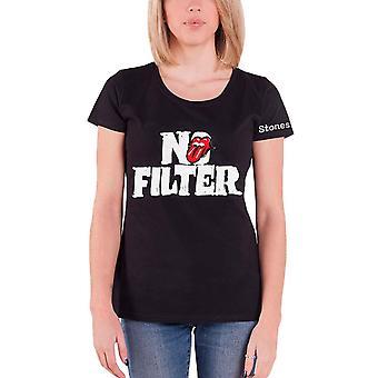 Los Rolling Stones T camisa sin filtro Tour encabezado logotipo nuevo oficial para mujer negro