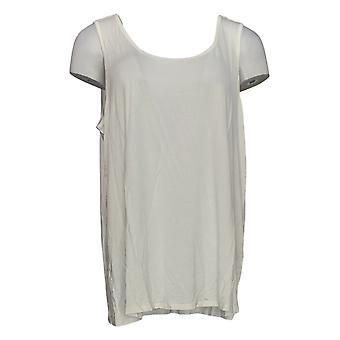 Women with Control Women's Plus Top Ruffle Lace Tunic & Tank Ivory A350623