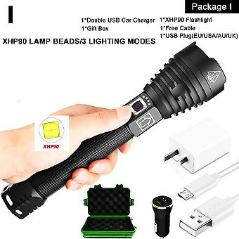 Xhp90 Led Flashlight Zoomable Usb-rechargeable Power Display, Powerful Torch
