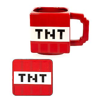 Minecraft TNT -muki- ja lasinalussetti aikuisille ja lapsille | Minecraft Cup 550ML & Juomateline Joulupelilahjat | Punainen ja valkoinen keramiikka pojille, tytöille, miehille ja naisille