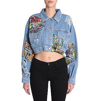 Jeremy Scott 050109150295 Women's Light Blue Cotton Outerwear Jacket