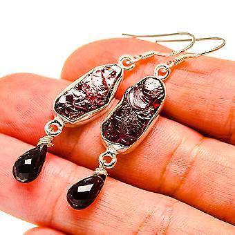 """Rough Garnet Earrings 2"""" (925 Sterling Silver)  - Handmade Boho Vintage Jewelry EARR407482"""