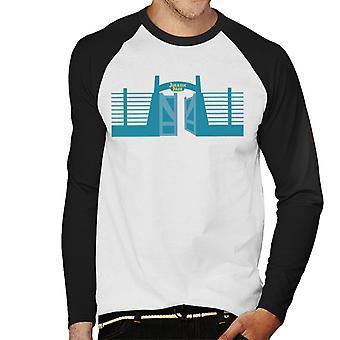 Jurassic Park Entrance Open Gate Men's Baseball Long Sleeved T-Shirt
