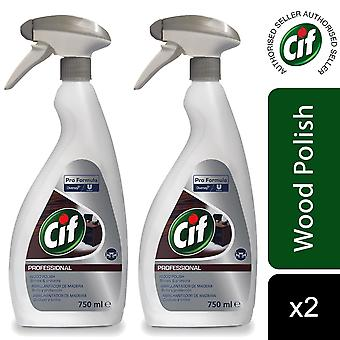 Cif Professional Pro Formula Wood Polish Spray Bottle 750ml, 2pk