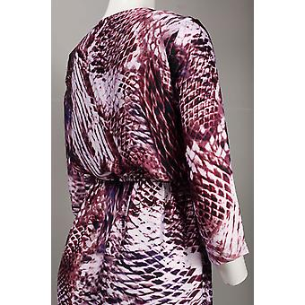 Cowl Neckline Animal Skin Print Satin Chiffon Blouson Dress