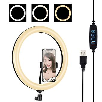 PULUZ 11,8 tum 30cm USB 3 Lägen Dimbar Dual Color Temperatur LED Böjd diffust ljus Ring Vlogging Selfie Fotografering Video Lights med telefon Cla