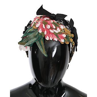 Multicolor Silk Floral Crystal Diadem Tiara Headband