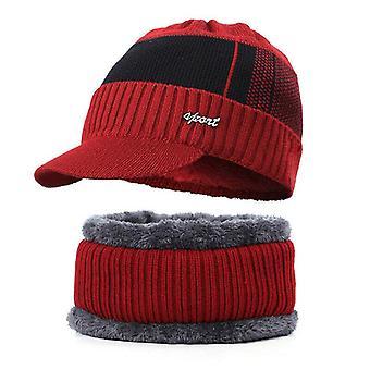Visor Beanie, Fleece Lined Beanie With Brim Cap/hat Scarf Set Warm Knitted