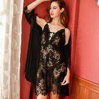 Summer Elegant Female Sexy Sling Lace Nightgown Temptation Bride Bathrobe
