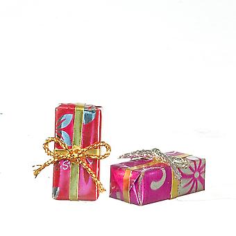 Dolls House Floral Wrapped Gifts Christmas Birthday Present Boxes Shop Accessory