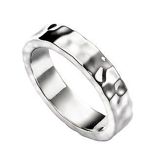 Elementer Sølv Mænd's Hamret Band Ring