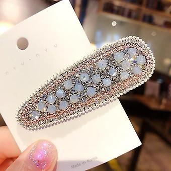 Handmade hair clips in fabric with beads, rhinestones & diamonds