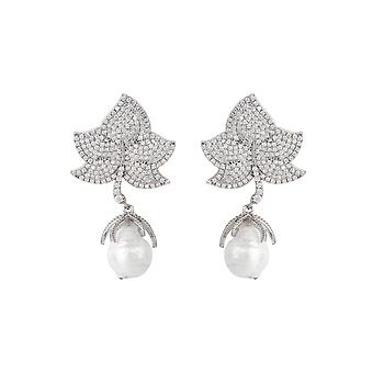 Baroque Large Natural Pearl Leaf Earrings CZ White 925 Sterling Silver Drop Big