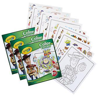 Libro de color y pegatina, juguetería 4, paquete de 3