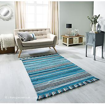 Kelim rayas alfombra Teal