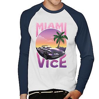 Miami Vice Car And Palm Tree Men's Baseball Long Sleeved T-Shirt