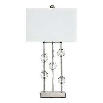 Lampe de table en métal accentuée en cristal avec l'ombre dure, le blanc et l'argent
