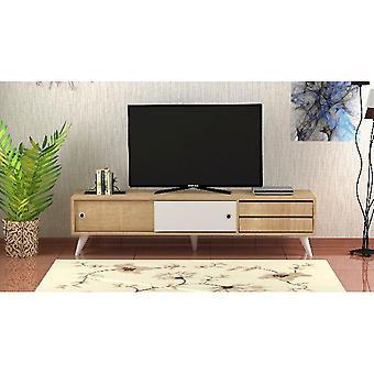 Mobilny port TV Eduardo Colore Rovere, Biały w płyta wiórowa Melaminico, PVC, L160xP40xA40 cm