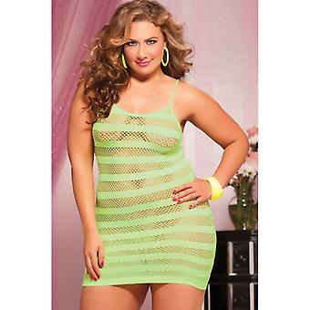 Plus Size Riot Girly Seamless Solid And Net Stripe Dress
