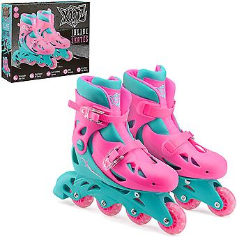 Xootz Kids Inline Skates Adjustable Beginner Roller Blade Boots Girls Pink/Blue Small UK Size 9-12