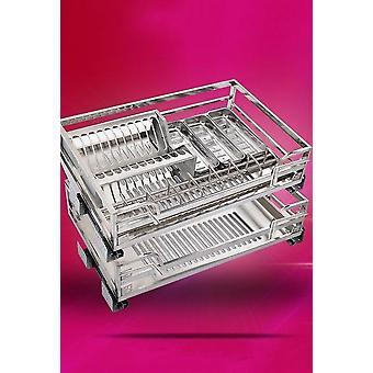Skåp rostfritt stål fyrkantigt rör dra korg dämpning köksskål push
