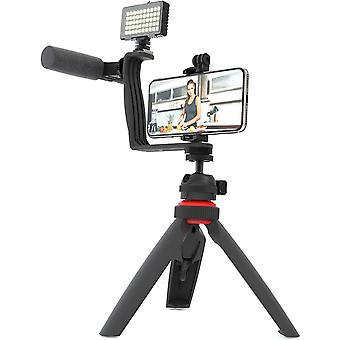 HanFei 5-teiliges Vlogging Set mit Videolicht, Shotgun Pro Mikrofon, Winkelhalterung mit zwei