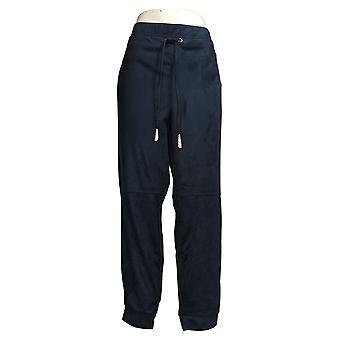 Susan Graver Women's Pants Faux Suede Pull On Jogger Blue A387865