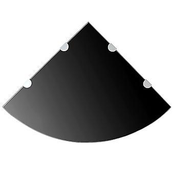 vidaXL kulmahyllyt 2 kpl kromattuja kiinnikkeitä lasi musta 45x45cm