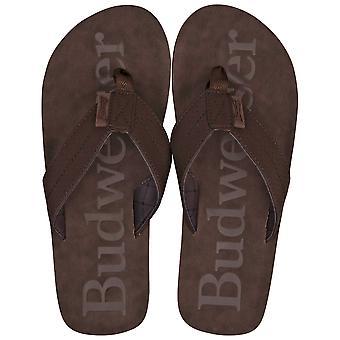 Budweiser Печатные Браун Distressed Flip Флоп сандалии
