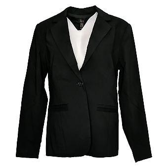 G.I.L.I. Women's Suit Jacket/Blazer Button Front Stretch Black A375508