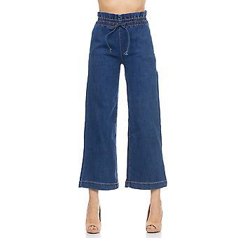 Denim flared pants with elastic waist