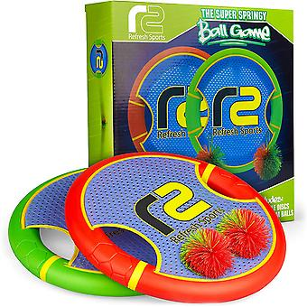 Bouncy Disc Paddle Ball Game Frisbee Kids Toss And Catch Balls Set Outdoor Games