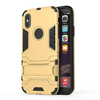 Shockproof case for iphone x with kickstand golden pc4996