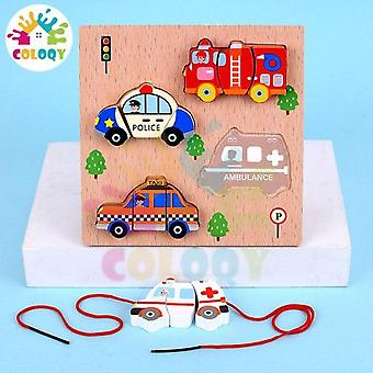 New wooden child vegetable traffic 3D puzzle beads play house toys | building blocks
