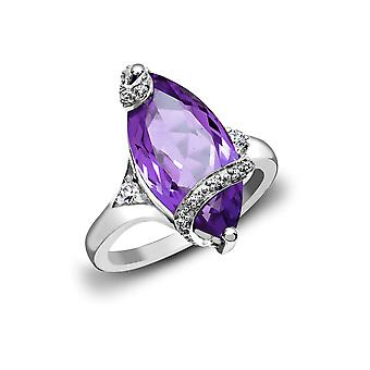 Jewelco London 18ct valkoinen kulta Pave Set G SI1 0,11 CT timantti ja Marquise Purple 6.5 CT Amethyst Solitaire Ring 20mm