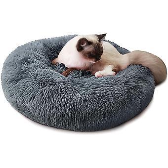 Hundebett Katzebett Rund Plüsch Weich Bett für Haustier Donut Hundekissen Hundesofa
