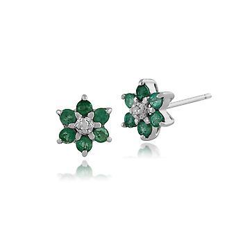 Klassische Runde Smaragd & Diamant Cluster Ohrstecker in 9ct Weißgold 117E0009039