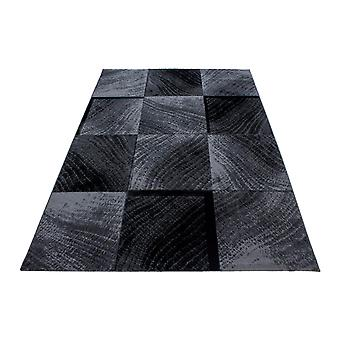 Shortflor Rug Plaid Tile Pattern Sala de estar Rug Gris Negro Fundido