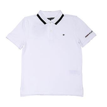 Guttens Tommy Hilfiger Junior Organisk Bomull Logo Polo Skjorte i Hvitt