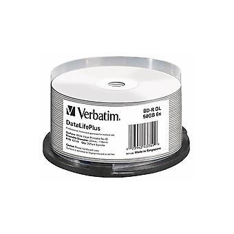 VERBATIM Blu-Ray BD-R 50GB 6 x 25CB inkjetW