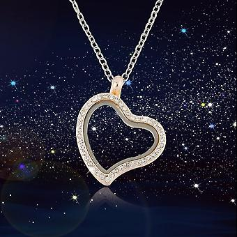 Charming Living Memory Floating Glass Round/heart Locket Pendant Necklace