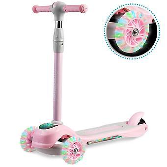 Trehjulig scooter - rosa - upp till 35 kg - LED-upplysta hjul