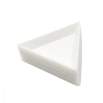 10pack White Plastic Sorting Triangualrtrays For Put Jewelry Picking Plates Nail Art Dotting Tool Storage.