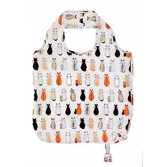 Shopping totes reusable roll-up bag - cats in waiting polyester  orange