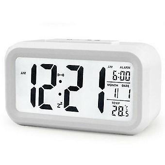 (Blanc) Digital Desk Alarm Clock Battery Operated Square LCD Display Backlight Calendar
