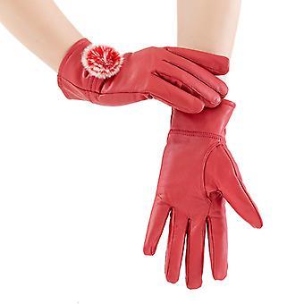 Mimigo Natural Rabbit Fur Pompom Women's Genuine Sheepskin Driving Glove Winter Warm Leather Gloves