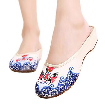 Old Beijing Cloth Shoes, Slippers, Embroidered Shoes, Slip-on Sandals, Ethnic Style