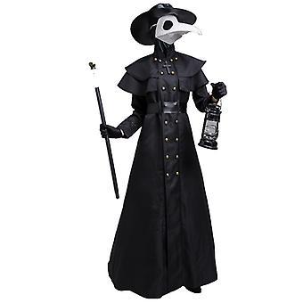Halloween Plague Doctor Costume Set Steampunk Priest Horror Wizard Cloak Manteau de cosplay médiéval